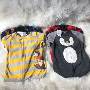 🐧CARTER'S | 4-Pack Fleece Sleepers with Booties🐻